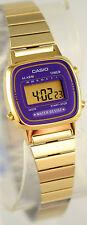 Casio LA670WGA-6 Ladies Digital Watch Purple Gold Steel Band Digital Retro New