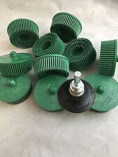 "3M 2"" Scoth-brite Roloc Bristle Disc 50 Grit Green W/MANDREL LOT OF 10"