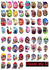NEW Any 12 Plastic Surprise Eggs With TOY, Candy, Stickers Great For Holidays!