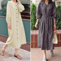 Women Buttons V Neck Casual Oversize Long Shirt Dress Plain Midi Dress Plus Size