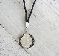 """Black Cord Saint Necklace ST BENEDICT PROTECTION Medal Mens Women 30"""" PENDANT"""
