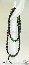 "Black mala negra balas onyxe ""verde jade"" Rosary cadena de oración nepal 101h"
