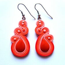 Wedding  Party Bridal Drop Dangle Red Coral Swirl Evening Dress Earrings Jewelry