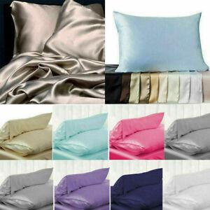 Soft Pure Silk Satin Pillowcase Pillow Case Covers Queen Standard Bed Home Decor