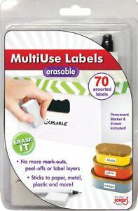 Jokari 47802 - White Multi-Use Labels x70, Eraser & Pen - Erasable & Re-Usable