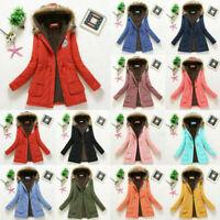 Outwear Women Winter Warm Hooded Fur Parka Jacket Trench Coat Windproof Faux