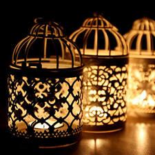 Metal Hollow Bird Cage Candle Holder Hanging Lantern Tealight Candlestick Decor