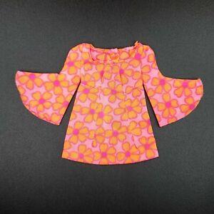 Barbie Doll TALKING PJ #1113 Dress Vintage Outfit Orange Pink Floral