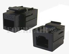 CAT5e Inline Coupler Keystone RJ45 Female to Female Snap-In Jack Insert - Black