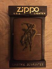 Marlboro Brass Zippo Cigarette Lighter Western Cowboy NEW W/ BOX