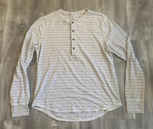 Lululemon Grey Striped Henley Shirt Size Large