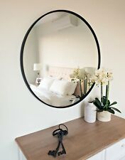 Round Metal Framed Wall Mirror 90cm diam. Black and White, Feature (Kate)