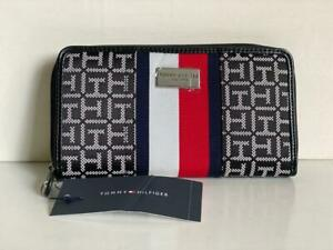 NEW! TOMMY HILFIGER BLACK NATURAL RED ZIP AROUND CLUTCH WALLET PURSE $58 SALE