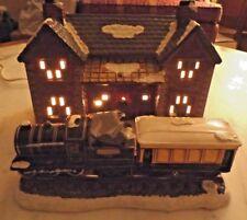 "Dept. 56 Snow House ""Train Depot"" W/ 2 Trains & Track 1986- Original Snow Villag"