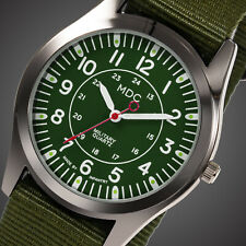 MDC Mens Quartz Wrist Watch Luminous Analog Military Army Sport Green Nylon