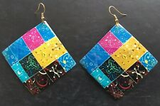 Colour Glossy Patchwork Pattern Square Earrings Funky Retro 60s 70s Style Multi