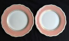 "Set of 2 Royal Worcester Z1952 Salmon & Gold Scalloped Edge 9-1/4"" Lunch Plates"