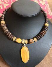 SILPADA N1361 Wood Honey Jade Tigers Eye Yellow Jade Pendant Necklace EUC