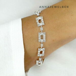 Silver White Cubic Zirconia CZ Crystal Bracelet Bangle Christmas and Gift Bag UK