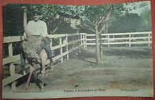 Antique French Colourised Postcard Gran Prix Ostrich Riding Photochrom? 1890s?