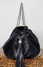 CHANEL Black Shearling Satin Drawstring Sac Cordon Tassel Purse Handbag