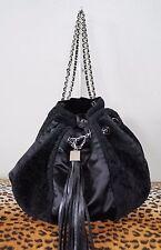 CHANEL Black Shearling Satin Drawstring Sac Cordon Tassel Purse Handbag *MINT*