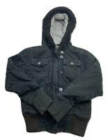 Fox Racing Full Zip & Button Down Black Faux Fur Hood Jacket Womens Size XS