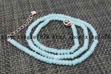 "Fine Beautiful 2x4mm Aquamarine Faceted Roundel Gems Beads Necklace 20"" AAA++"