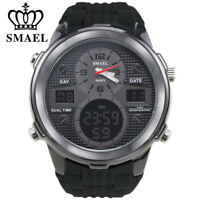 SMAEL Brand Men Digital LED Watch Dual Time Gold Watches Silicone Wristwatches