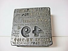Vintage LEAD stamp Printing press block Heavy Cleaner 49 cents Phone address