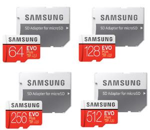 Samsung Evo Plus 64GB,128GB,256GB,512GB microSD SDXC Class 10 U3 memory card