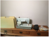 """Vintage Sewing Machine With Accessories,Dimensions: 16""""H 17""""D 8""""W"""