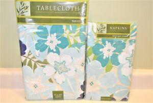 Paradise Tablecloth 60 x102 Blue Floral Flowers Oblong 4 cloth Napkins Vinyl NEW