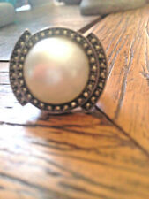 ART DECO STYLE STERLING SILVER, MARCASITE, MABE PEARL RING. SIZE 6