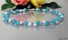 Glass Jewels Schöne Silber Kette Collier Perlen Türkis Meerblau Glasperlen #M037