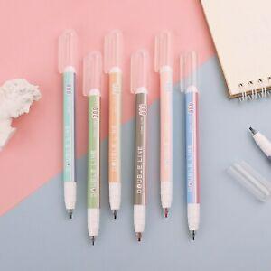Set of 6 Morandi Double Line Pens,Morandi Colour Theme,Marker Pens,Two Line Pens
