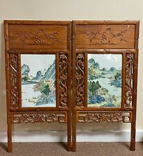 Pair of Large Old Chinese Porcelain Plaques in Carved Wood Frames