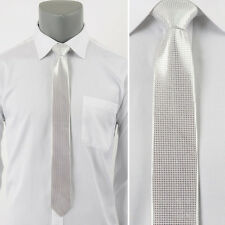 "Man's Metal Silver Tie/Skinny Slim Handmade Party Wedding Doted Necktie/W 2.16"""