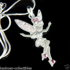 w Swarovski Crystal Fairy Purple Tinkerbell ANGEL wings Pendant Necklace Jewelry