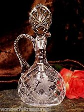 BEAUTIFL Vintage 60's 70's Crystal Glass Handle Decanter GRAPES FLOWERS GERMANY!