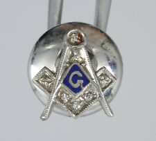 VINTAGE MASONIC SOLID 10K WHITE GOLD with DIAMONDS TIE CLIP ~ 11 mm / 0.6g