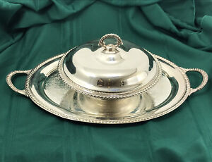 Wm Rogers Silverplate Round  Serving Bowl with Lid and serving tray, VTG
