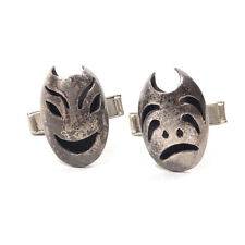 Vintage Silver Plated Theatre Drama Thespian Acting Face Mask Cufflinks .60""