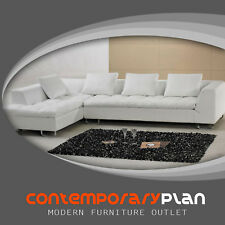 Contemporary White Italian Leather Sectional Sofa - New Modern Minimalist Design