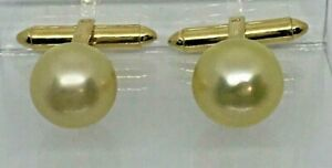 IRIDESSE 18K CUFFLINKS  12mm GOLDEN PEARLS~~TYPICAL IRIDESSE QUALITY~~NICE