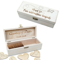 Custom Guest Book Alternative Wooden Hearts Wedding Guestbook Rustic Wedding Box