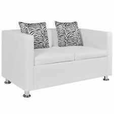Modern Artificial Leather Sofa 2-Seater Couch Living Room Furniture White/Black