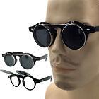 Round Retro Vintage Small Retro Steampunk Circle Flip Up Glasses Sunglasses New