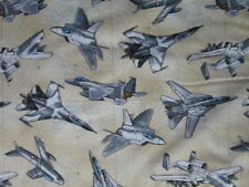 PLANE AIRPLANES FIGHTER AIRPLANE JETS TAN COTTON FABRIC FQ