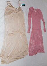 VINTAGE Knit Pink Dress Vanity Slip Beige Small